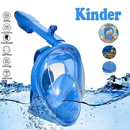 Lypumso Máscara de Buceo, Máscara Snorkel para Niños 180°Visión Panorámica, Máscara de Buceo de Cámara/GoPro Instalable Accesorios Completos y Bolsa para Guardar Incluida, Azul.