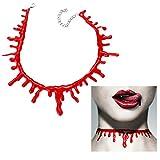 Halskette Blut Halsband Halloween Scary Bluttropfen Verletzung geschnitten Choker Horror Karneval Fasching -