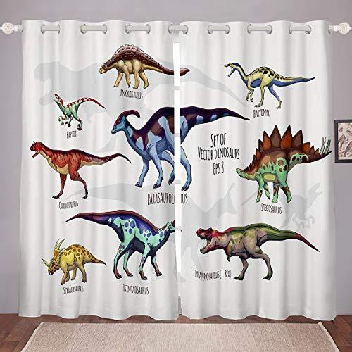Homemissing Cortina de dinosaurio con animales de la selva para dormitorio, sala de estar, decoración de la ventana, estilo de vida silvestre, cortinas salvajes, tratamientos de ventana W66 x L72