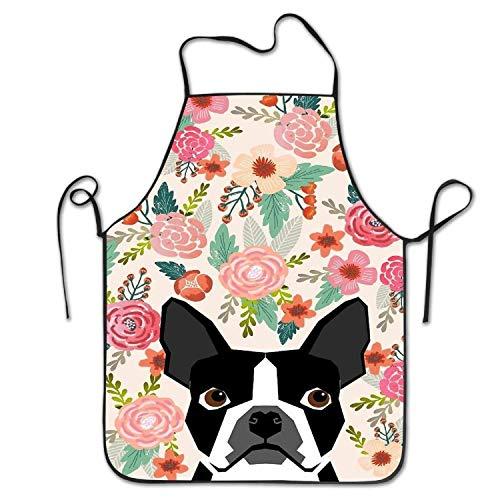 Not Applicable Küchenschürze, Boston Terrier Florals Damen Männer Lustige Creative Print Kochschürzen Urlaub Kellnerin/Kellner Uniform 52x72cm