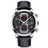 Mode Herrenuhren Chronograph Analog Quarz Datum Wasserdicht Schwarz Leder Sport Armbanduhr