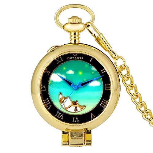 Taschen-Uhr Transparent Römischen Ziffern Uhr Steampunk Handaufzug Mechanische Uhren 30cm Kette Hängende Uhr