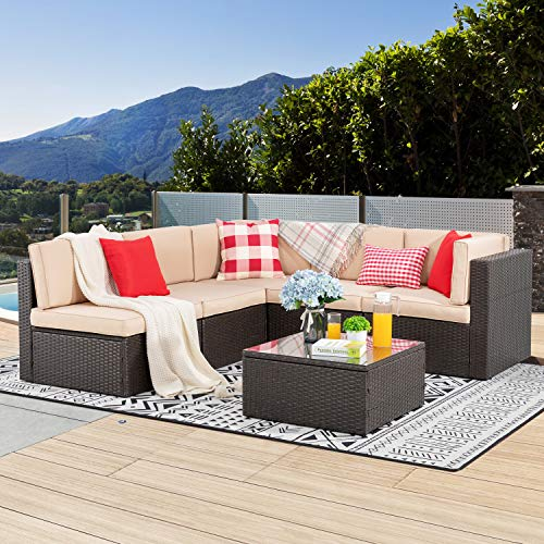 Vongrasig 6 Piece Patio Furniture Set, Small Outdoor Sectional Sofa Couch, All Weather PE Wicker L-Shaped Corner Patio Sofa Garden Backyard Patio Conversation Set w Glass Table (Beige)