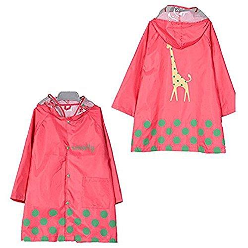 Impermeabile unisex per bambini, simpatico carino, cartoni animati giacca a vento antipioggia Abbigliamento leggero per 3–12anni, Karikatur Regenmantel, Rosa, XL