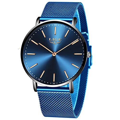 LIGE Relojes Unisex Hombre Mujer Ultra Delgado Reloj Simple Cuarzo Analógico 3ATM Impermeable para Masculino Minimalista Azul Malla Gents Hombre Reloj de Pulsera