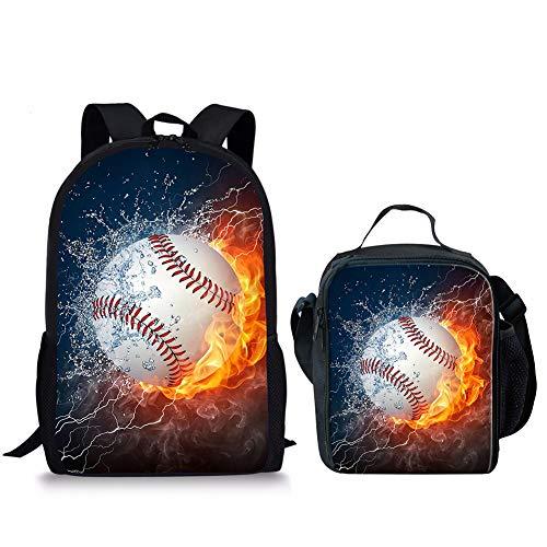 POLERO Fiambrera de béisbol de fuego y agua, para niños, ligera, bolsa de hombro, 2 unidades