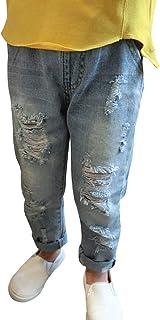 Bambini Jeans Stretti per Ragazze Strappati Moda Elasticizzato Nero Jet