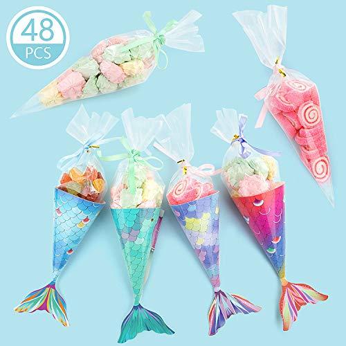 Comius 48 Pcs Mermaid Geschenkbox, Mermaid Gift Bags Candy Papierboxen Party Deko Mermaid Party Supplies für Kinder Baby Shower Little Mermaid Party