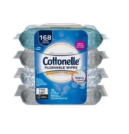 Cottonelle Fresh Care Flushable Cleansing Cloths, 42 Sheets, Count of 4