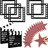 22 Pieces Movie Night Party Decoration Set Movie Clapboard Cut Action Scene Writable Clapper Board, Filmstrip Photo Frames, Star Cutouts Cardboard Card for Film Photo Prop MovieThemedPartySupplies