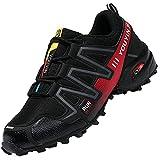 Csgkag Zapatillas Trekking Hombre Zapatos de Senderismo Zapatillas Trail Running Escalada Aire Libre Antideslizantes Ligero Deportivas,Negro Rojo,EU45