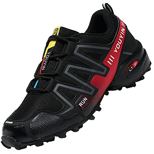 Csgkag Zapatillas Trekking Hombre Zapatos de Senderismo Zapatillas Trail Running Escalada Aire Libre Antideslizantes Ligero Deportivas,Negro Rojo,EU41
