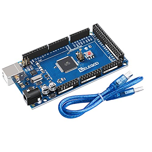 ELEGOO Mega de 2560 R3 Tarjeta Placa Compatible con Arduino IDE con Microcontrolador Basada en el Mega con USB Cable Azul Versión Mega Kit