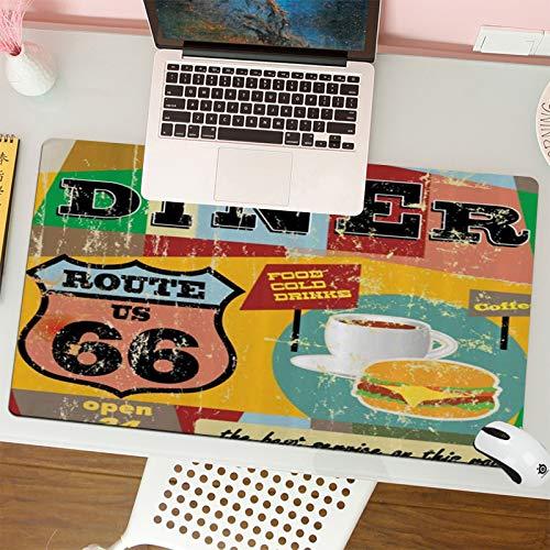 Alfombrilla para ratón (80x30 cm). Route 66 Nostálgico Diner Letrero Grunge Tonos Alimentos Bebidas Café Hamburguesa Ilustración,Base Antideslizante. Especial para Gamer