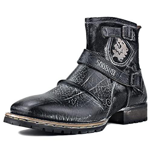 OSSTONE Botas para Moto Botines Hombre de Invierno Piel Zapatos Negras Vestir Nieve Piel Forradas Calientes Planas Combate Militares Cremallera Boots OS-5008-1-AQ-11-R