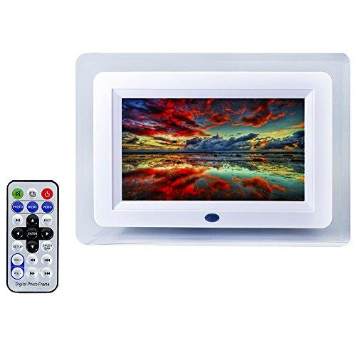 QUMOX 7-Zoll-TFT-LCD-Fernbedienung Digitaler Bilderrahmen MP3-Player-Alarm mit LED-Licht 7 Farbe Weiß
