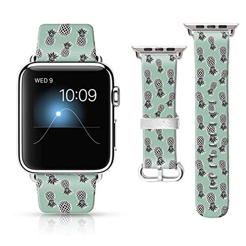 LAACO Leather Band Compatible with iWatch SE Series 6 38mm 40mm, Genuine Leather Fadeless Pattern Printed Vintage Replacement Strap Classic Bands Compatible with iWatch 6/5/4/3/2/1 Black Pineapple