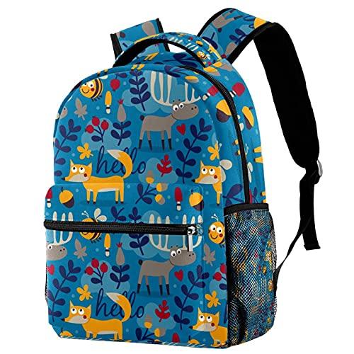 Borsa per la scuola per ragazzi Bookbag multi-tasche zaino scuola zaino casual con manico superiore con spalline regolabili volpi cervi blu