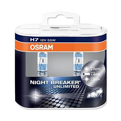 OSRAM NIGHT BREAKER UNLIMITED H7, Lampe de phare halogène, +110%,  64210NBU-HCB, 12V véhicule de tourisme, boîte duo (2 pièce)