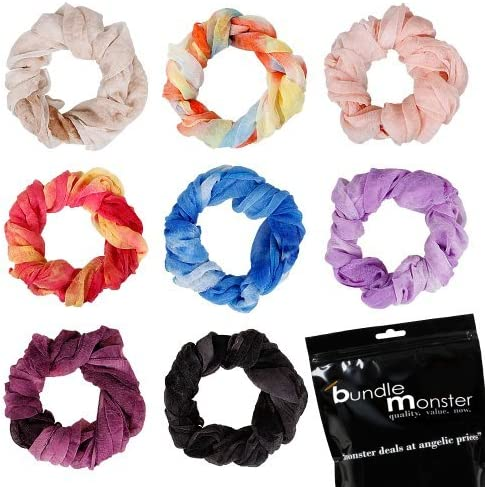 Bundle Monster 8pc Womens Fancy Shawl Scarf Fashion Solid Scarves Mixed Lot