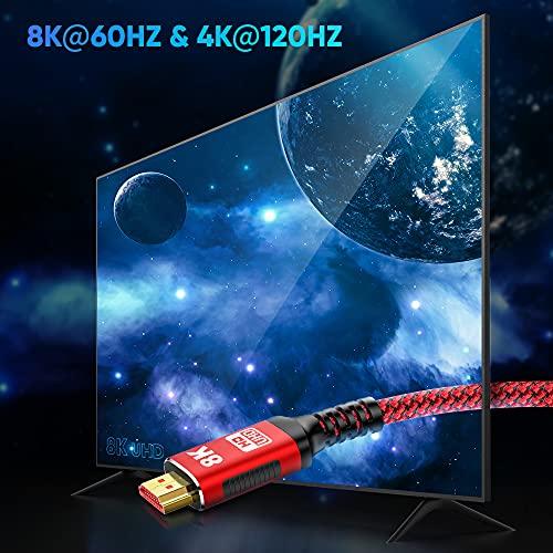 HDMI Kabel 4K 120Hz + 8K 60 Hz   HDMI 2.1 Kabel 2M-Snowkids 8K@60HZ&4K@120HZ HDMI 2.1 Ethernet Kabel 7680P mit eARC Dolby Vision 48Gbps Dynamischer HDR HDCP 2.3 kompatible mit PS5, PS4, HDTV, PC - 3