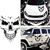 Car Exterior Decoration - Xotic Tech Auto Front Hood Vinyl Graphic Sticker - Truck Trailer Boat Door Window Decal - 1pcs 22' Black Skull Shape