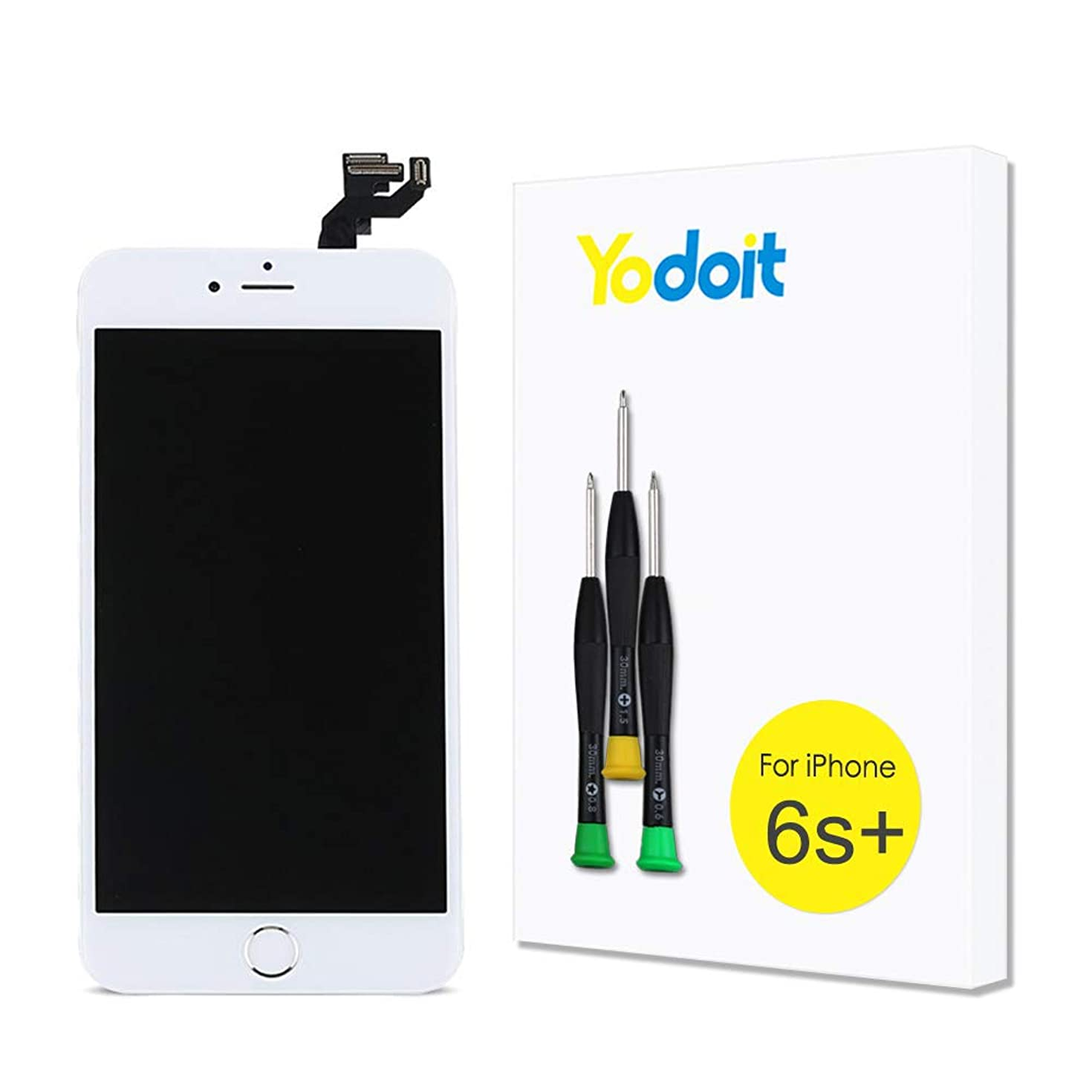 for iPhone 6s Plus Touch Screen Replacement - Yodoit LCD Display Digitizer Glass Full Assembly with Small Parts Camera Proximity Sensor Home Button Earpiece Speaker 3D Touch + Tool (5.5 inches White)