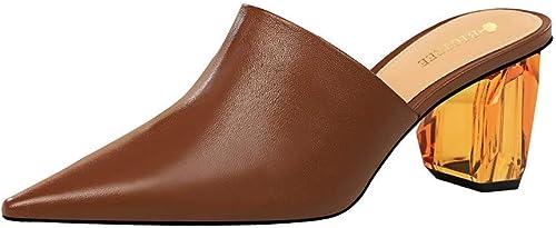 SYXLBDK Chaussures Femme Décontracté Rétro Baotou Baotou Baotou Talon 6 Cm De Haut Pantoufles Transparent Crystal Talon D'épaisseur Au Milieu De Bouche Slim Chaussures Pointues 7d4