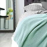 Knitted Throw Blanket 100% Cotton Super Soft Cozy Plush Fluffy Woven Blanket for Bed Sofa Chair, Lightweight Bed Blanket 51'x 63' - Blue
