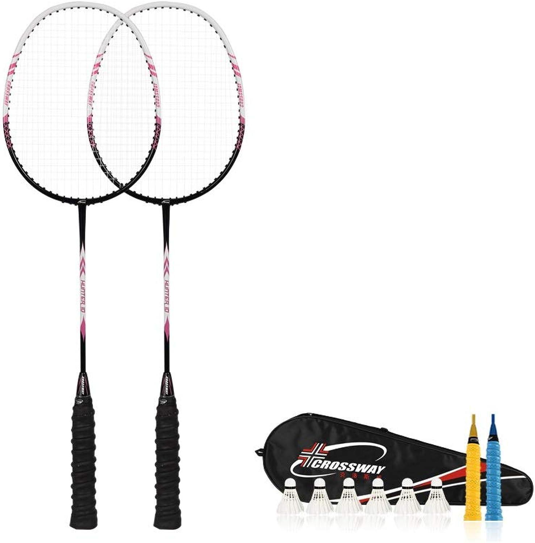XIONGHAIZI Badminton Racket 2 Sticks, Carbon Adult Offensive Double Badminton Racket, Single Full Resistance Suit, More colors