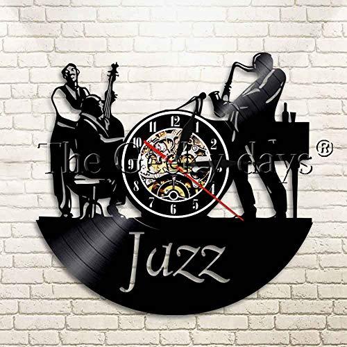 UIOLK Musik Jazz Saxophon 3D Schallplatte Wanduhr Retro Mute Wand Acryl Mute Wanduhr