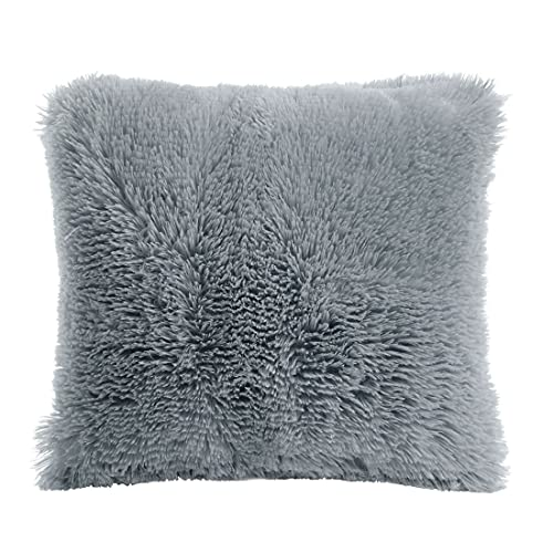PiccoCasa Faux Fur Throw Pillow Cover, Fluff Plush Cushion Cover Mongolian Luxury Pillow Case Soft Pillow for Home/Sofa/Couch/Bed/Car(20 x 20 Inch/50 x 50 cm, Gray)