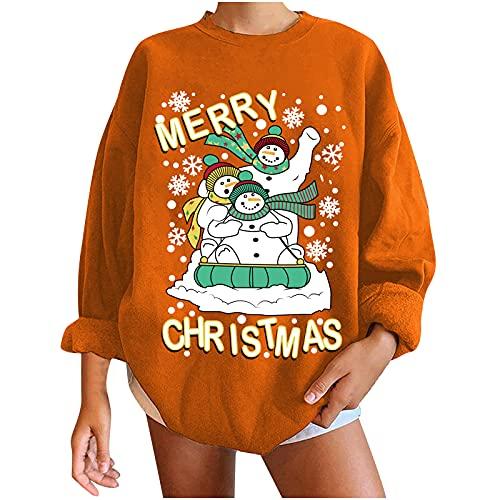 Suéter de Navidad con muñeco de nieve, para adolescentes, niñas, suéter de Navidad, suelto, informal, para otoño, cálido, naranja, M
