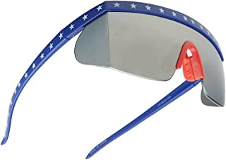 SunglassUP Semi Rimless USA Patriotic American Red White and Blue Sunglasses with Mirrored Side Shield Lens