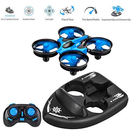 3T6B 3 in 1 Imbarcazione Mini-Drone, Quadricottero RC con modalità Senza Testa Telecomando 2.4G Ritorno con Una Chiave Rotazione a 360 ° Rotazione modalità Acrobazie 3 velocità e 1 Batterie