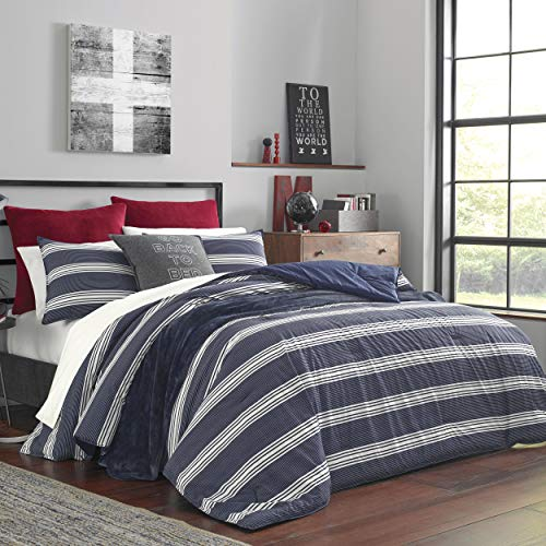 Nautica Home | Craver Collection | 100% Cotton Cozy & Soft, Durable & Breathable Striped Comforter & Matching Sham(s), Twin/Twin XL, Navy