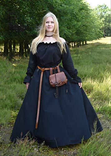 Mittelalterlicher Rock, weit ausgestellt, schwarz aus schwerer Baumwolle – Mittelalter, LARP, Wikinger Größe XXL - 4