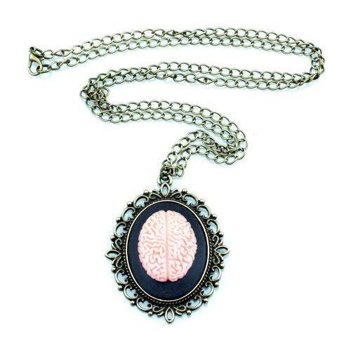 Vintage cervella unacollana - catena di 70 cm - pensieri psicopatologia Philo Sophie q.i, cammeo timando Rosa