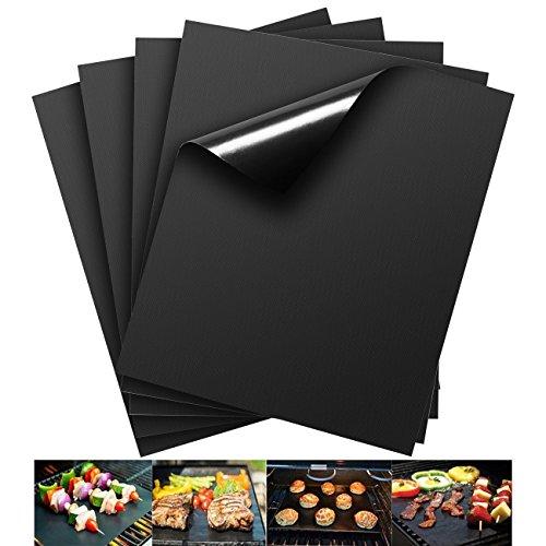 QMQ Grillmatte (5er Set) zum Grillen und Backen | aus Silikon mit Teflon Antihaftbeschichtung - 40x33 cm | ideal für Gas - Kohle - E-Grill Mikrowelle und Backofen geeignet | LFGB und FDA Zulassung