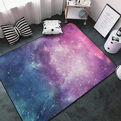 Area Rug Soft Multipurpose Indoor Carpet White-Purple Blue Galaxy Sky5 Non Slip Floorcover Mat for Sofa, Living Room, Bedroom Modern Fashion Floor Mat
