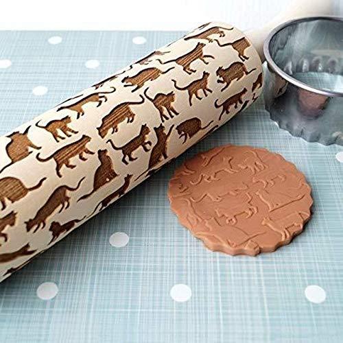 Badry Geprägte Rollennudeln Backen Keks Nudeln Holz Roll Kekse Gummi Kuchen Teig Nudeln - Katze 41cm