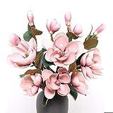 AO HAI Flor Artificial Magnolia Flower Bouquet para centros domésticos Decoración de la Fiesta de Bodas Regalos del día de Las Madres (Color : Pink)