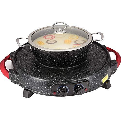 Elektrischer Grill Indoor Hot Pot Multifunktionaler Indoor Teppanyaki Grill Shabu Shabu Pot mit Trennwand - Separate Doppeltemperatur-Gegenleistung Kapazität für 5 Personen 110 V (Farbe: A)