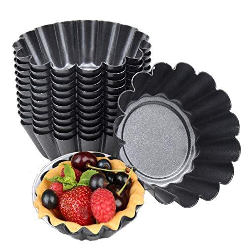 14 STK Ei Torte Form, Antihaft Tartelette Förmchen, Wiederverwendbare Törtchenformen, Kohlenstoffstahl Mini Tarteform Muffin Form Törtchen für Pudding,Backen,Kuchen Werkzeug Kekse (7.5 X 2.3CM)