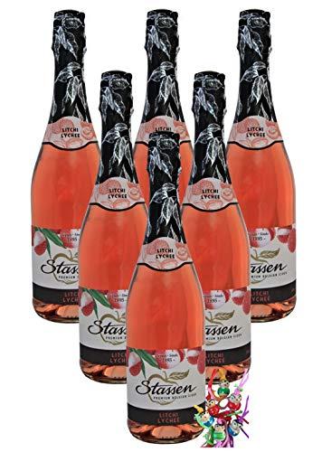 yoaxia ® - 6er Pack - [ 6x 750ml ] STASSEN Lychee Cidre 5% vol. CIDREHALTIGES GETRÄNK mit Litchigeschmack + ein kleines Glückspüppchen - Holzpüppchen