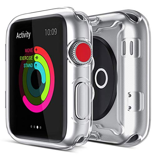 Arrfa Case for Apple Watch Series 6/ Se/Series 5 / Series 4 40mm with Built in TPU Screen Protector,All Around Protective Case High Definition Clear Ultra-Thin Cover Compatible for iwatch (2 Pack)