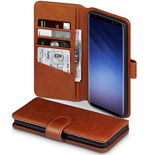 TERRAPIN, Kompatibel mit Samsung Galaxy S9 Plus Hülle, Premium ECHT Leder Flip Handyhülle Samsung Galaxy S9 Plus Tasche Schutzhülle - Cognac