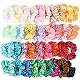 BUYGOO 36 Farbe Seidensatin Haargummis für Mädchen Frauen Damen, Starkes elastisches Haarbänder für Pferdeschwanz-Halter, Bunte Haarschmuck Seile Scrunchie, einfarbig Traceless Haargummis