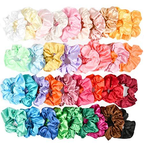BUYGOO Satin Chouchous pour Cheveux 36 Couleurs Chouchous Tissu Cheveux Arcs Élastiques Bandes De Cheveux Chouchou Cordes pour Femmes Filles