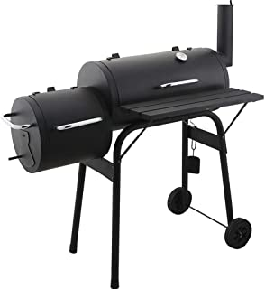 Outdoor 2-in-1 BBQ Grill - Charcoal Barbecue Grill with Offset Smoker, Meat Smoker w/Temperature Gauge for Home, Backyard,...